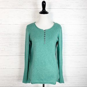 Sundance • Green Knit Homestead Henley Sweater S